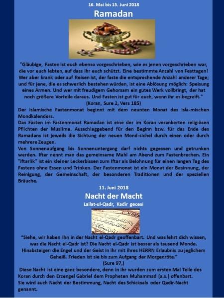 Muslimische Feiertage Blatt 2