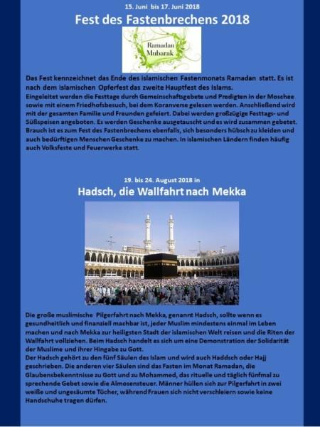 Muslimische Feiertage Blatt 3